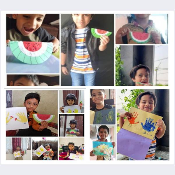 Fine Motor skill activity- Paper Watermelon Craft(Origami) & Plamprint Chick